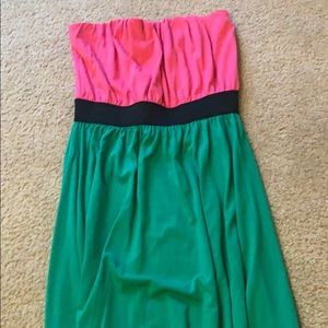 Pink and green strapless, hi-lo dress